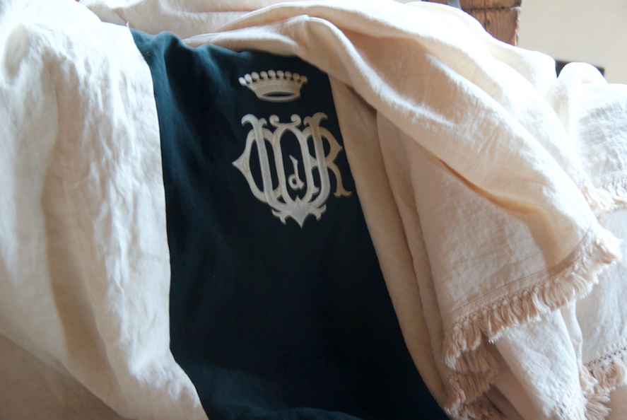 luxury linen blanket with monogram