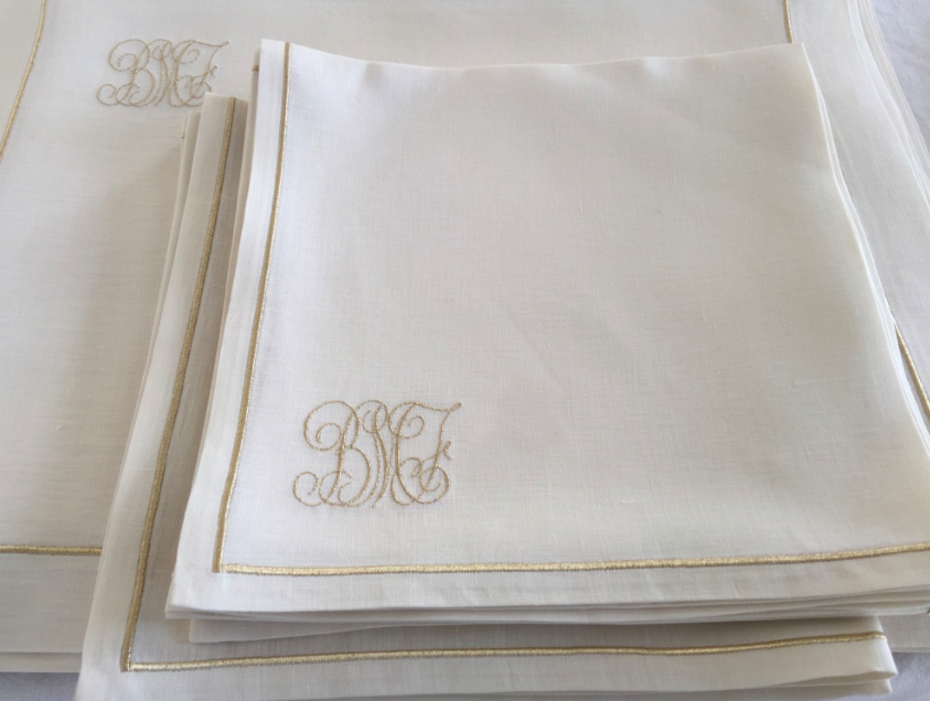 luxury linen pochette with monogram