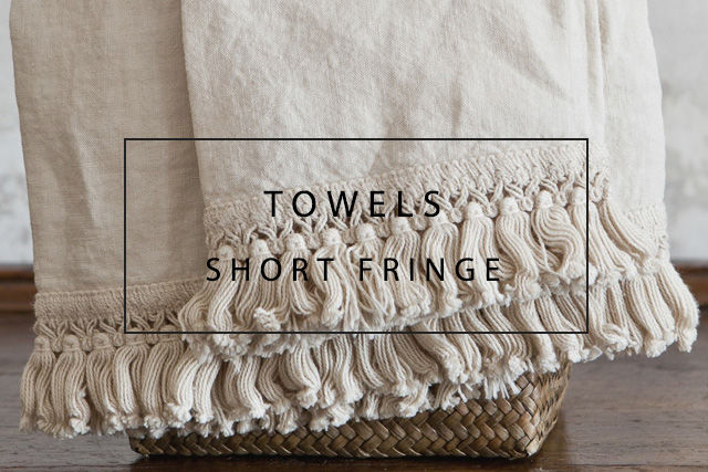 Luxury linen towels with short fringes