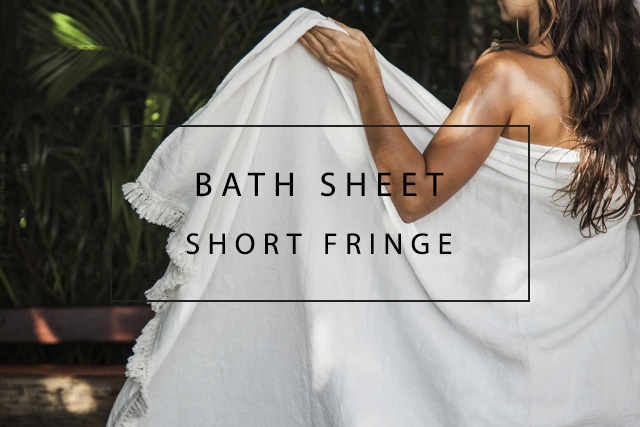 luxurious bath sheet with short fringes