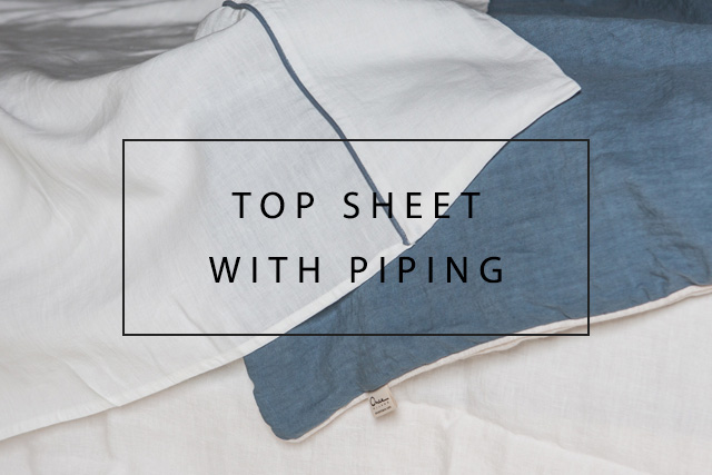 handmade linen top sheet with piping