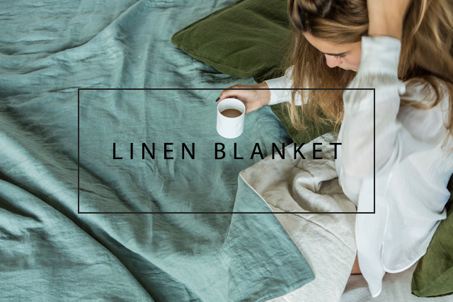 linen blanket with piping