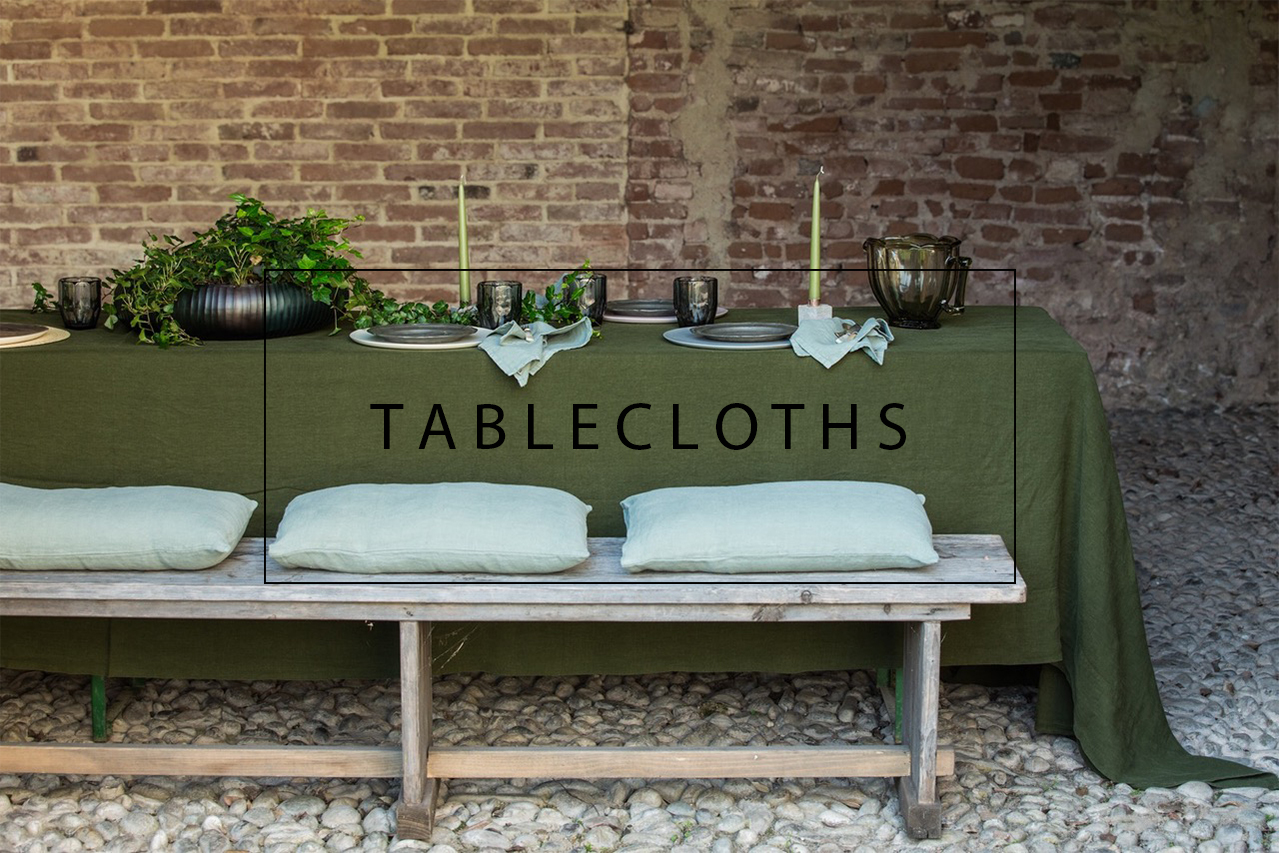 Luxury linen tablecloths with large border