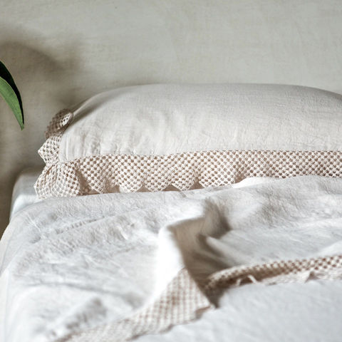 Linen,Pillowcase,with,Macramé,High quality linen, luxury linen, bed linen, home linens, linen. Easy to maintain and incredibly soft, Once Milano's signature crushed collection for the bedroom comprises duvet covers, quilts, pillowcases and throws. The custom-made collection is tailore