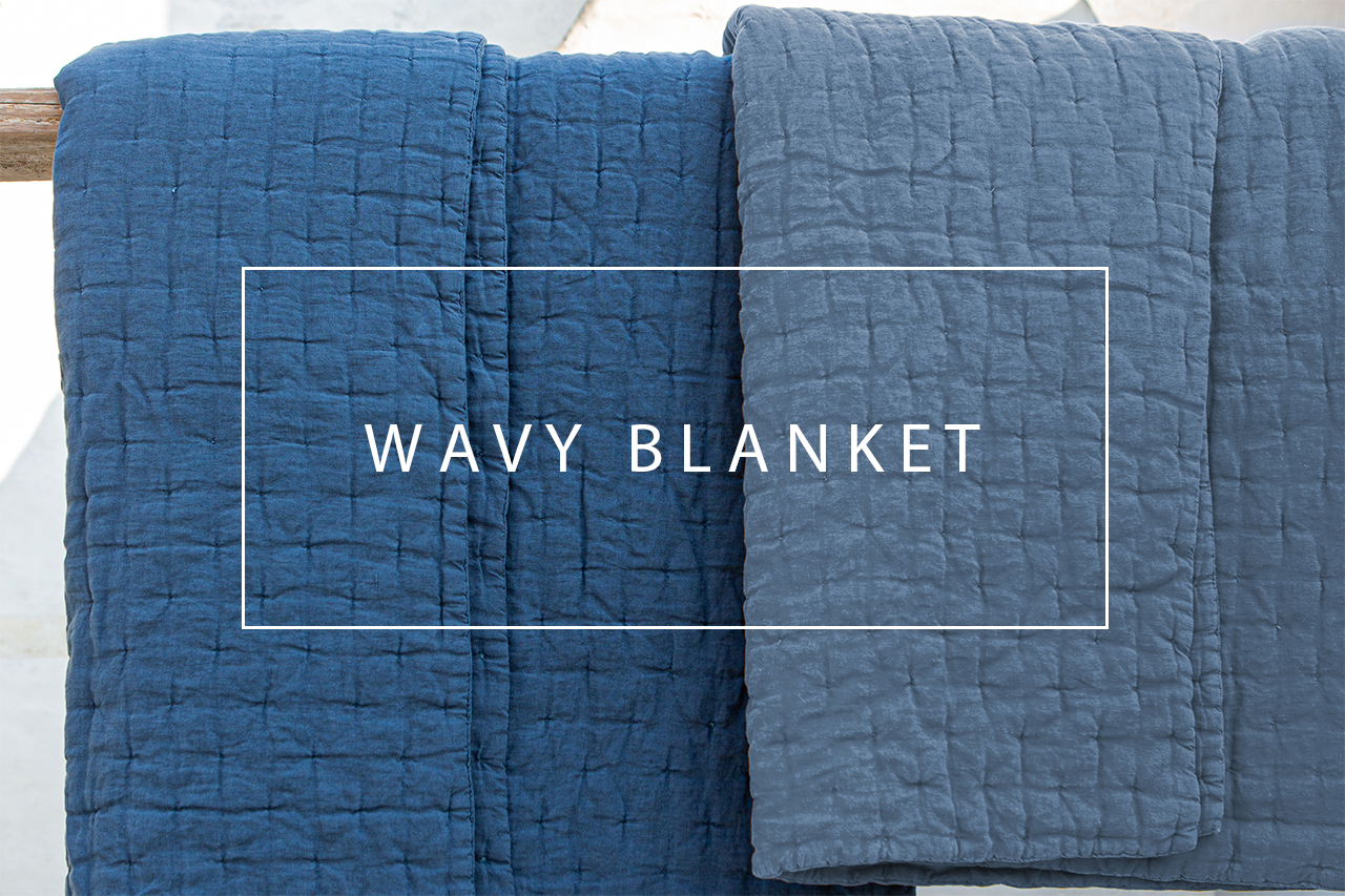 Luxury linen wavy blanket