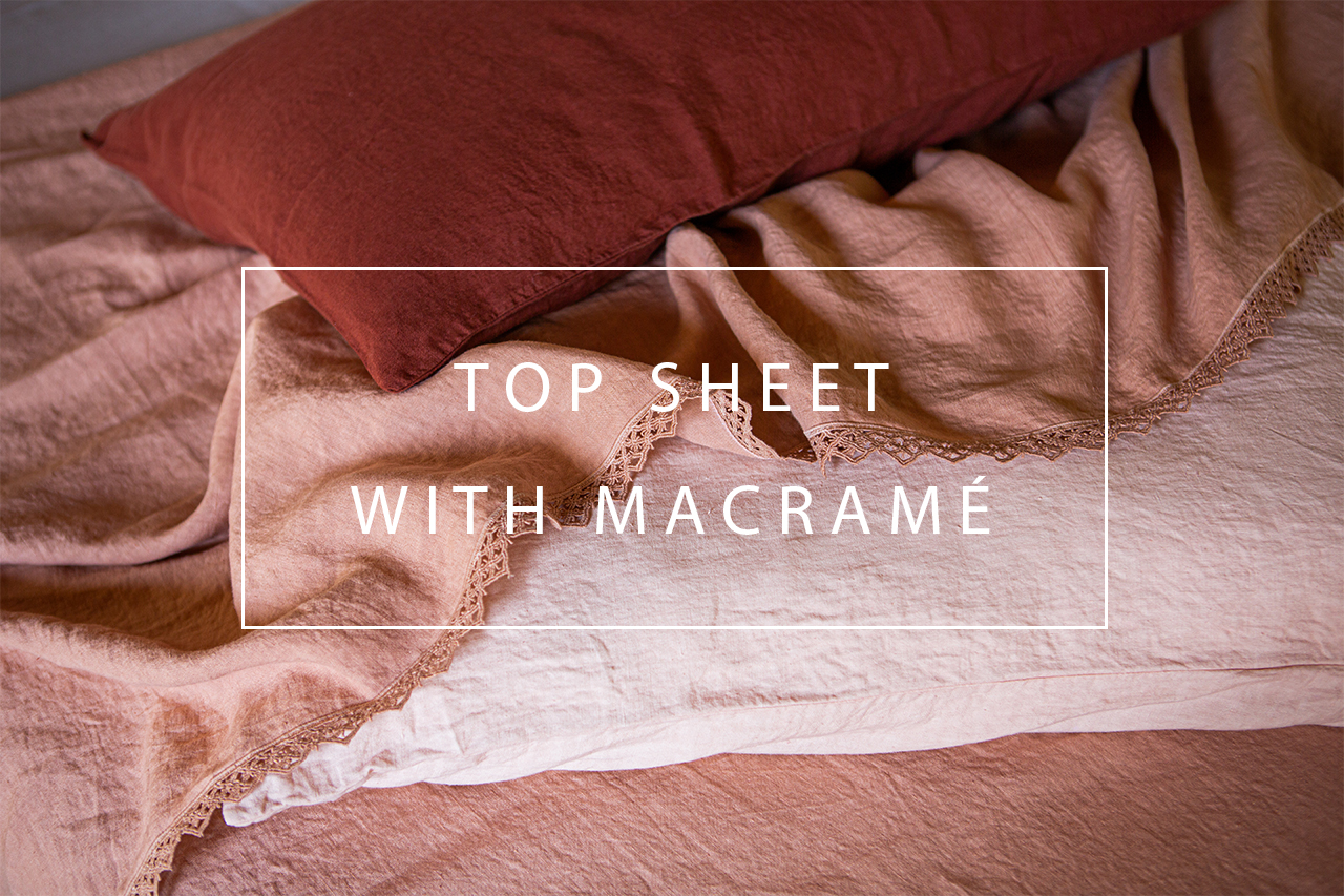 italian linen top sheet with macramé fringing