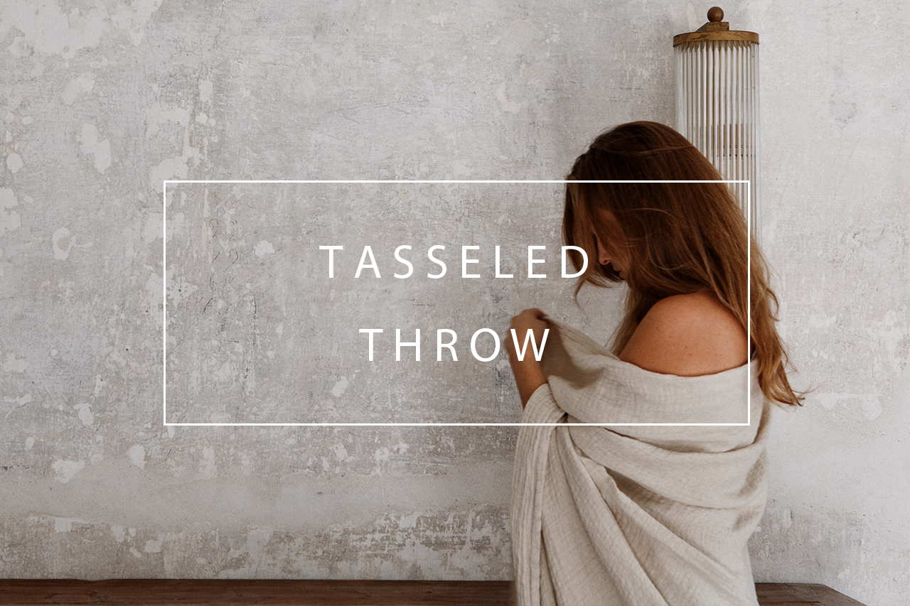 luxury linen tasseled throw