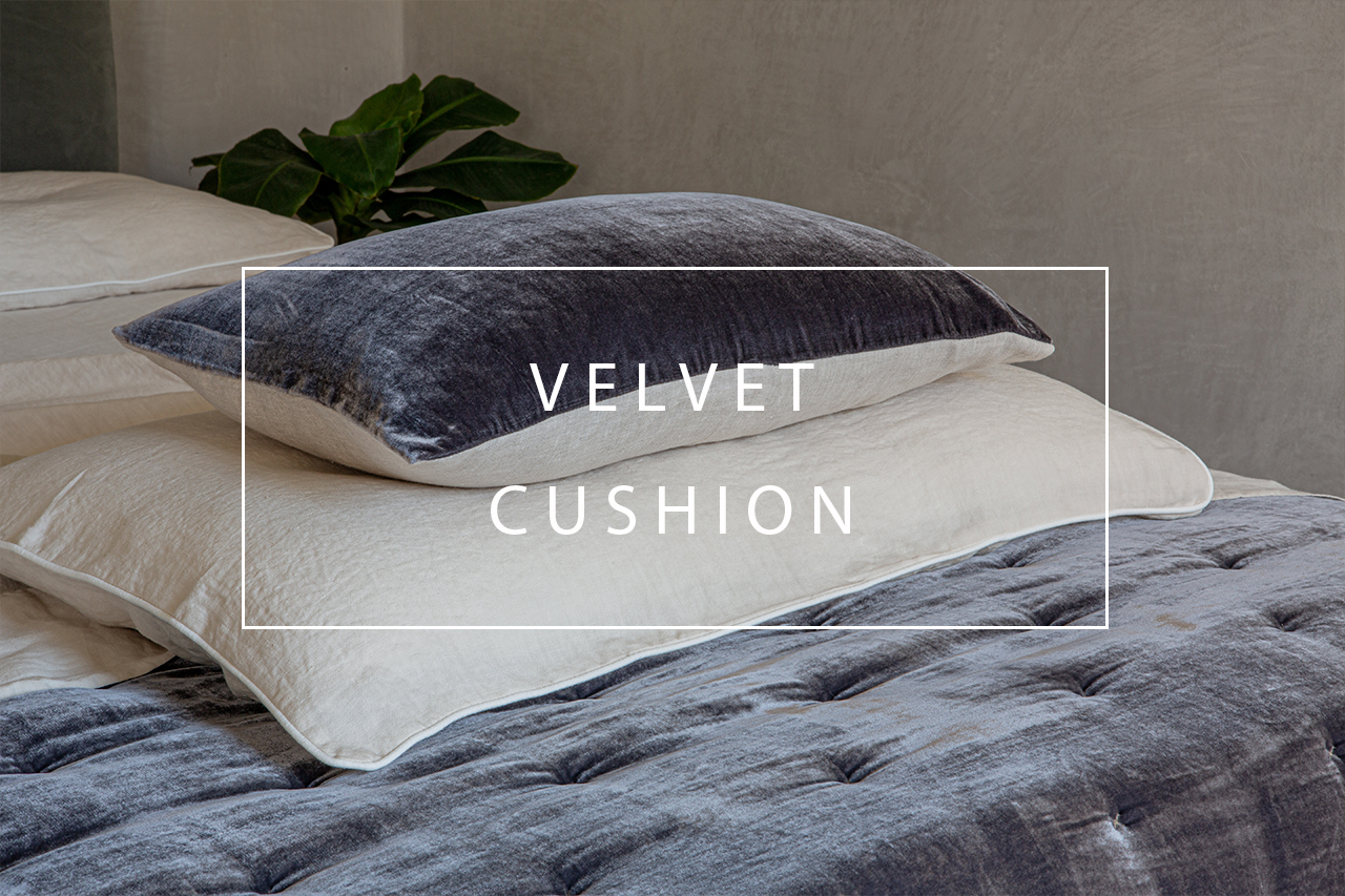 luxurious velvet and linen cushion