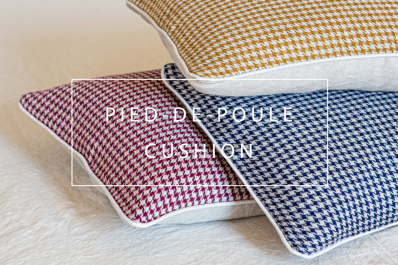 line pied-de-poule houndstooth cushion