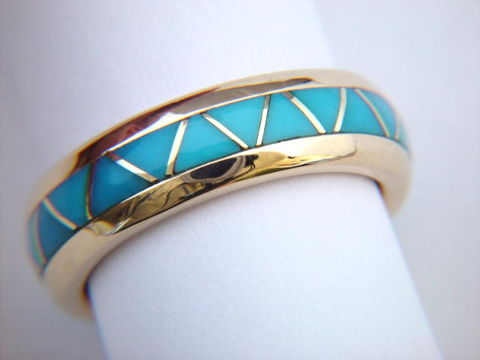 Traditional,Navajo-Style,Wedding,Band,design,-,14,Karat,Gold,Turquoise Inlay, Turquoise Wedding Ring, Inlay, Gold and Turquoise, 18 Karat, 14 Karat,  Sleeping Beauty Turquoise, Custom Wedding Rings, Arizona, Navajo, Designer, Thomas Carusetta
