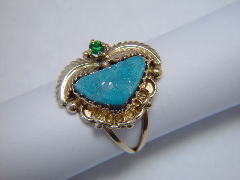Druzy Gem Silica and Tsavorite Garnet set in 14 Karat Gold Ring - product images  of