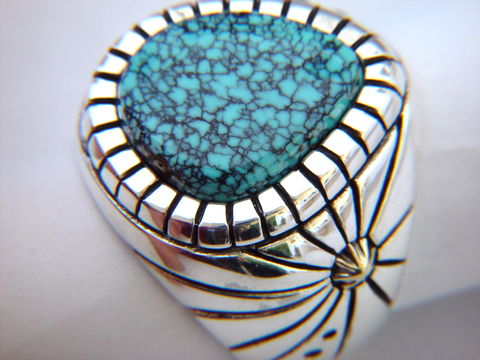 High,Grade,Spider,Web,Turquoise,set,in,Sterling,Silver,Spiderweb, Spider Web Turquoise, 14K, 14 Karat Gold, Sterling Silver, Hand Made, Navajo, Arizona