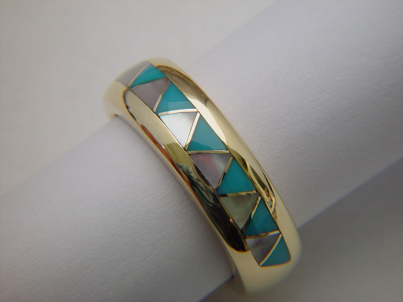 Traditional Navajo-Style Wedding Ring - 14 Karat Gold - product images  of