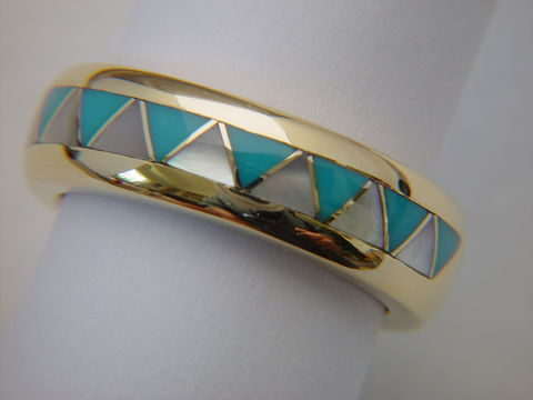 Traditional,Navajo-Style,Wedding,Ring,-,18,Karat,Gold,Navajo Wedding band, Turquoise and Gold, Gold and Turquoise, Navajo Ring, Inlay Wedding Band