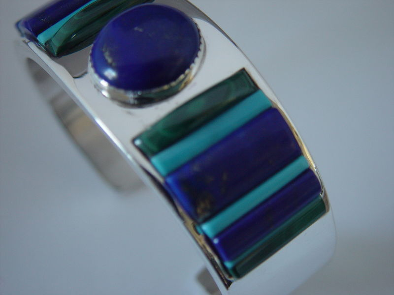 Lapis, Malachite, and Turquoise in Sterling Silver Bracelet - product images  of
