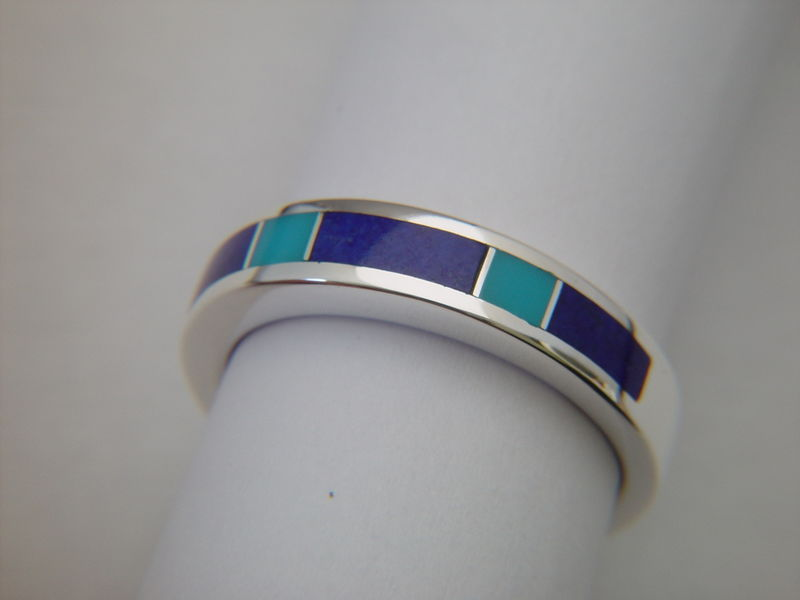 Lapis Lazuli and Sleeping Beauty Turquoise Ring - 5.5 mm Ring - product images  of
