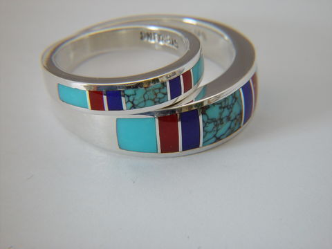 Spiderweb,Turquoise,,Lapis,,Coral,and,Sleeping,Beauty,Turquoise,in,Sterling,Silver,Wedding,Rings