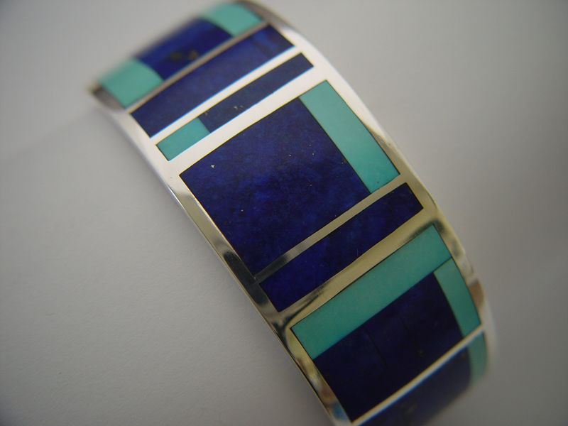 Lapis and Sleeping Beauty Turquoise in Sterling Silver Bracelet - product images  of