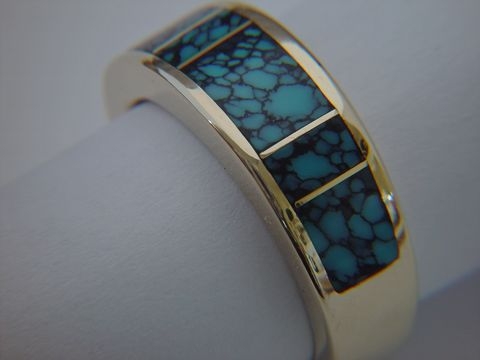 High,Grade,Spider,Web,Turquoise,in,7,mm,wide,14,Karat,Gold,Ring,Platinum, 18 Karat, 14 Karat, Gold Ring, Wedding Ring, Inlay, Gold and Turquoise, Custom Wedding Rings, Turquoise Inlay. Arizona, Navajo, Designer