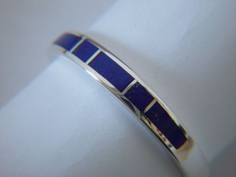 Lapis,and,Silver,Inlay,Ring,~,3.5,mm,Inlay Ring, Lapis Inlay, silver ring, wedding ring, Inlay wedding band, Inlay wedding ring, carusetta