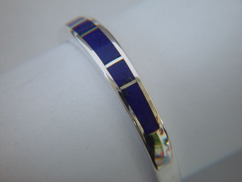 Lapis and Silver Inlay Ring ~ 3.5 mm - product images  of