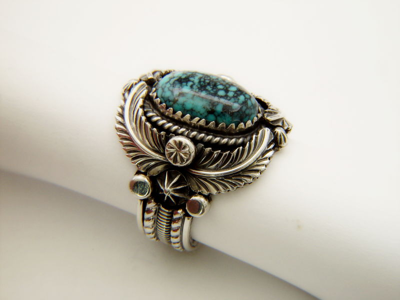 Natural Spiderweb Turquoise Set in Sterling Silver Ring - product images  of