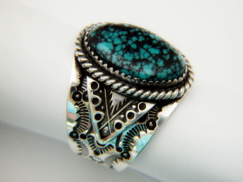 High,Grade,Spider,Web,Turquoise,Set,in,Sterling,Silver,Spiderweb, Spider Web Turquoise, Sterling Silver, Hand Made, Navajo, Arizona
