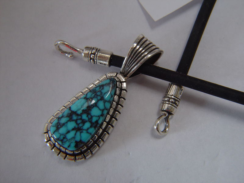 High Grade Tibetan Spiderweb  Turquoise Pendant - product images  of