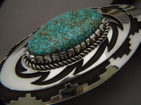 Sterling,Silver,and,Number,Eight,Turquoise,Bolo,Tie,by,Nick,Nez,High-Grade Turquoise, Number Eight Turquoise, Navajo, Bolo Tie,
