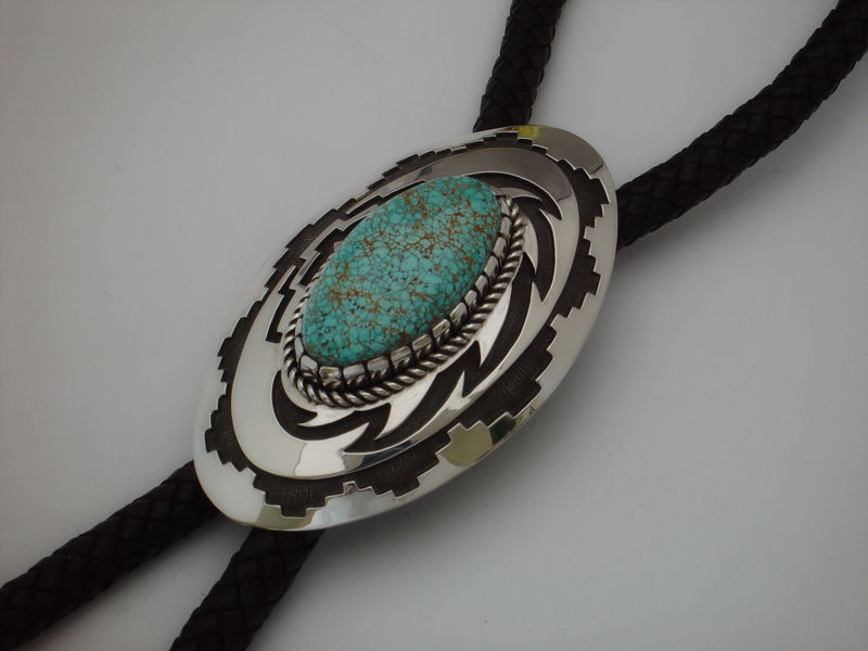 Sterling Silver and Number Eight Turquoise Bolo Tie by Nick Nez - product images  of
