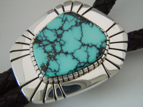Sterling,Silver,and,Natural,Turquoise,Bolo,Tie,by,Carusetta,Bolo Tie, High-Grade Turquoise, Carusetta, Spiderweb Turquoise