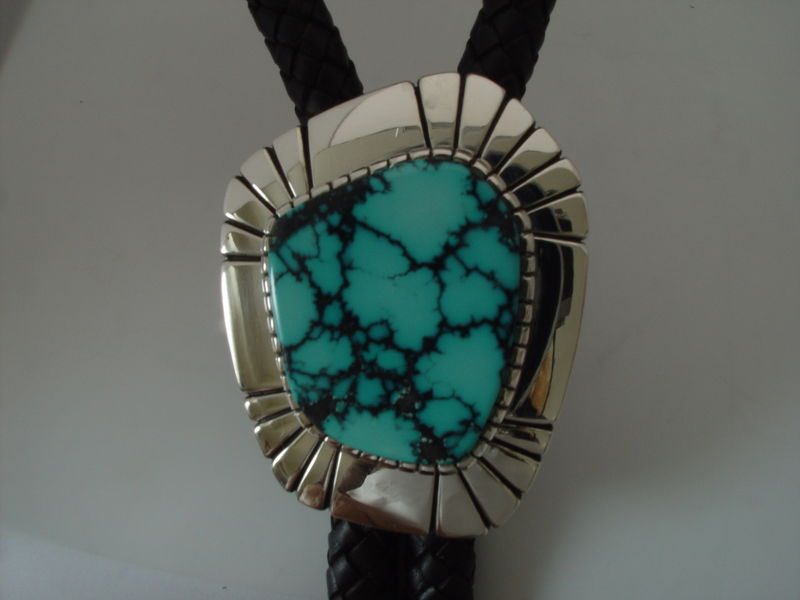 Sterling Silver and Natural Turquoise Bolo Tie by Carusetta - product images  of