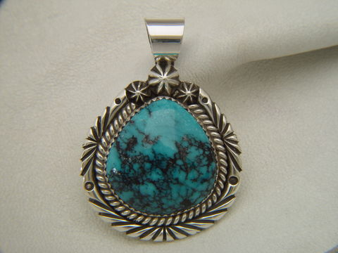 Natural,Turquoise,set,in,Sterling,Silver,Spider web turquoise, High Grade Turquoise, Spider Web Turquoise Pendant, Esmeralda County Turquoise