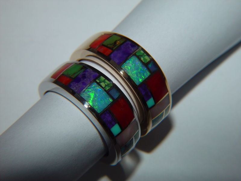 Multi Stone Inlay in 7mm Wide 18 Karat Gold Ring - product images  of