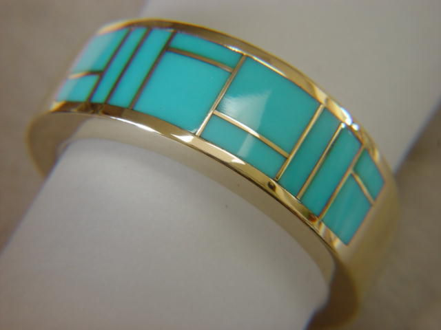 Sleeping Beauty Turquoise in 10 mm wide 14 Karat Gold Ring - product images  of