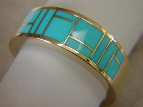 Sleeping,Beauty,Turquoise,in,10,mm,wide,14,Karat,Gold,Ring,18 Karat, 14 Karat, Platinum, Gold Ring, Wedding Ring, Inlay, Gold and Turquoise, Custom Wedding Rings, Turquoise Inlay