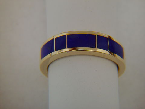 Lapis,Lazuli,in,5mm,wide,14,Karat,Gold,Ring,Gold Ring, Wedding Ring, Inlay, Gold and Lapis, Custom Wedding Rings, Turquoise Inlay. Arizona, Navajo, Designer