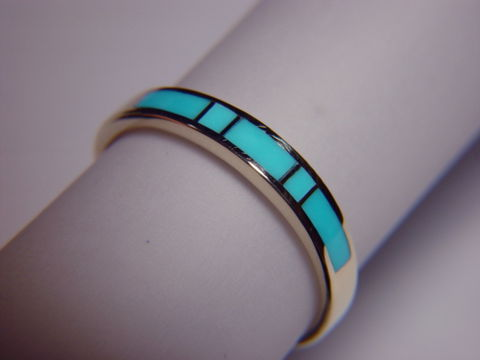 Sleeping,Beauty,Turquoise,in,3.5,mm,Wide,14,Karat,Gold,Ring,Gold Ring, Wedding Ring, Inlay, Gold and Turquoise, Custom Wedding Rings, Turquoise Inlay, Arizona, Navajo Inlay