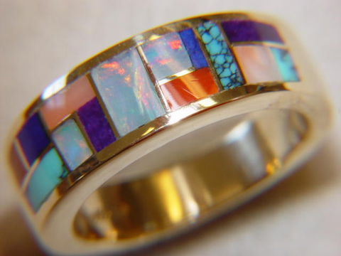 Multi,Stone,Inlay,in,7mm,Wide,14,Karat,Gold,Ring,Gold Ring, Wedding Ring, Inlay, Gold and Lapis, Turquoise and Gold, Opal, Opal Inlay, Arizona, Custom Wedding Rings, Lapis Inlay, Lapis Lazuli, Coral, Red Coral
