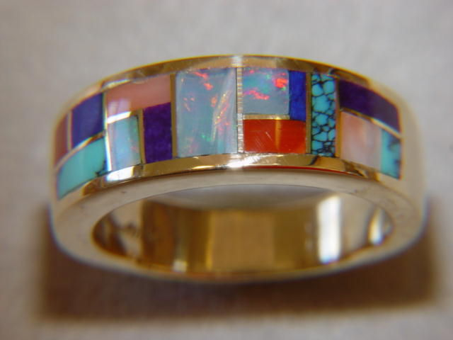 Multi Stone Inlay in 7mm Wide 14 Karat Gold Ring - product images  of