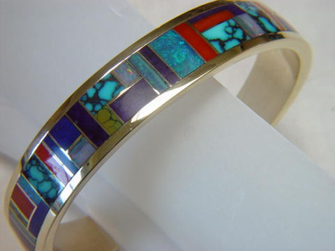 Multi,Stone,Inlay,Bracelet,set,in,Gold,Carusetta, Gold Ring, Gold Bracelet, Inlay, Bracelet, Gold and Lapis, Turquoise and Gold, Opal, Opal Inlay, Arizona, Custom Wedding Rings, Lapis Inlay, Lapis Lazuli, Coral, Red Coral, Navajo