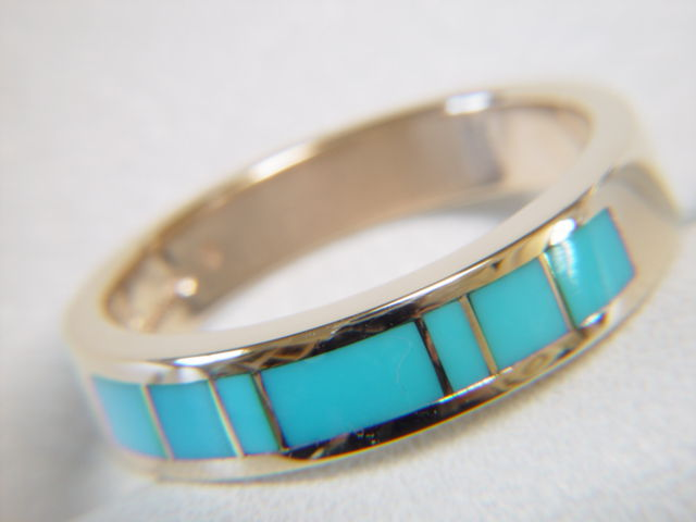 Sleeping Beauty Turquoise in 5mm wide 14 Karat Gold Ring - product images  of