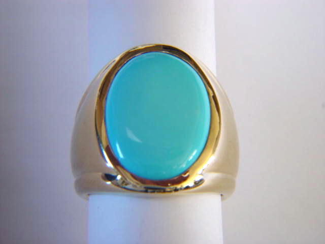 Sleeping Beauty Turquoise in Heavy 14 Karat Yellow Gold Ring - product images  of