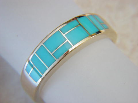 Sleeping,Beauty,Turquoise,in,7mm,wide,14,Karat,Gold,Ring,Platinum, 18 Karat, 14 Karat, Gold Ring, Wedding Ring, Inlay, Gold and Turquoise, Custom Wedding Rings, Turquoise Inlay. Arizona, Navajo, Designer