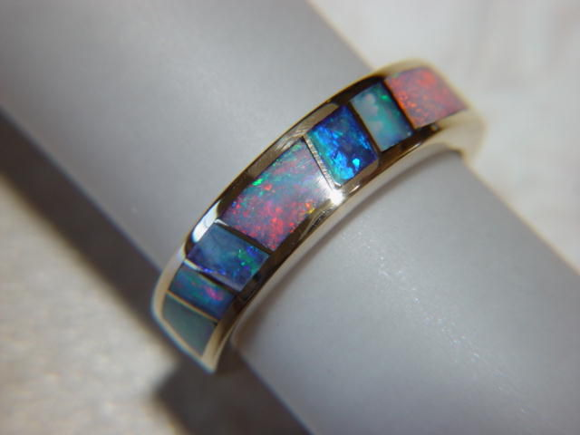 Australian Opal Crystal in 5mm wide 14 Karat Gold Ring - product images  of