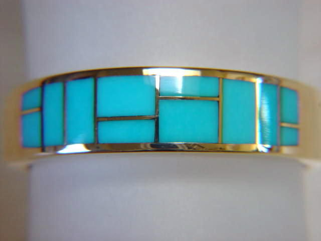 Sleeping Beauty Turquoise in 7mm wide 14 Karat Gold Ring - product images  of