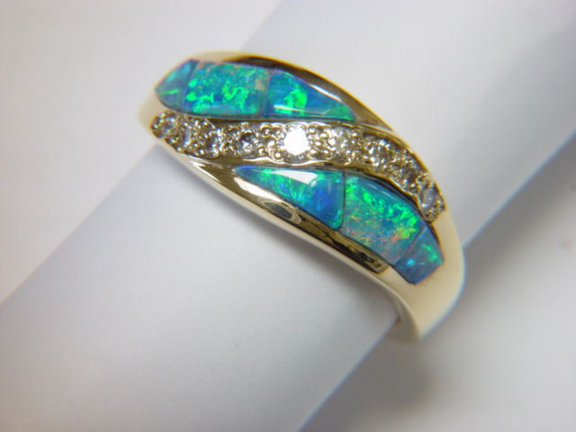 Natural Opal and Diamond Ring set in 18 Karat Gold - product images  of