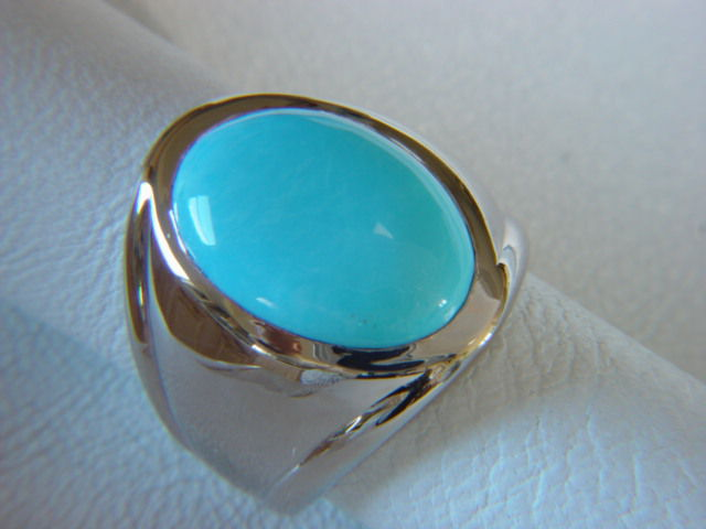 Sleeping Beauty Turquoise in Heavy 14 Karat White Gold Ring - product images  of