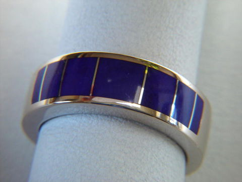 Lapis,in,8,mm,Wide,14,Karat,White,Gold,Ring,White Gold, 18 Karat, 14 Karat, Platinum, Gold Ring, Wedding Ring, Inlay, Gold and Lapis, Custom Wedding Rings, Lapis Inlay, Lapis Lazuli, Arizona, Navajo Jewelry