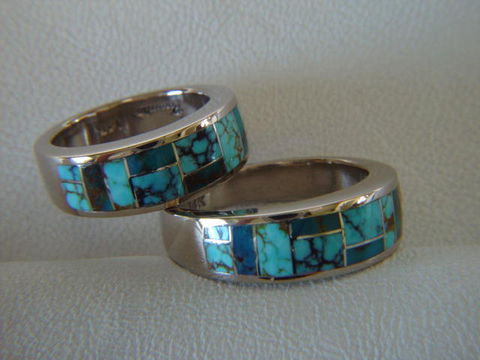 Matching,Wedding,Rings,-,7,mm,Wide,14,Karat,White,Gold,Ring,and,Turquoise, White Gold, 18 Karat, 14 Karat, Platinum, Gold Ring, Wedding Ring, Inlay, Gold and Lapis, Custom Wedding Rings, Lapis Inlay, Lapis Lazuli, Arizona, Navajo Jewelry